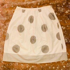 Talbots pleated white cotton circle pattern Sz 6P